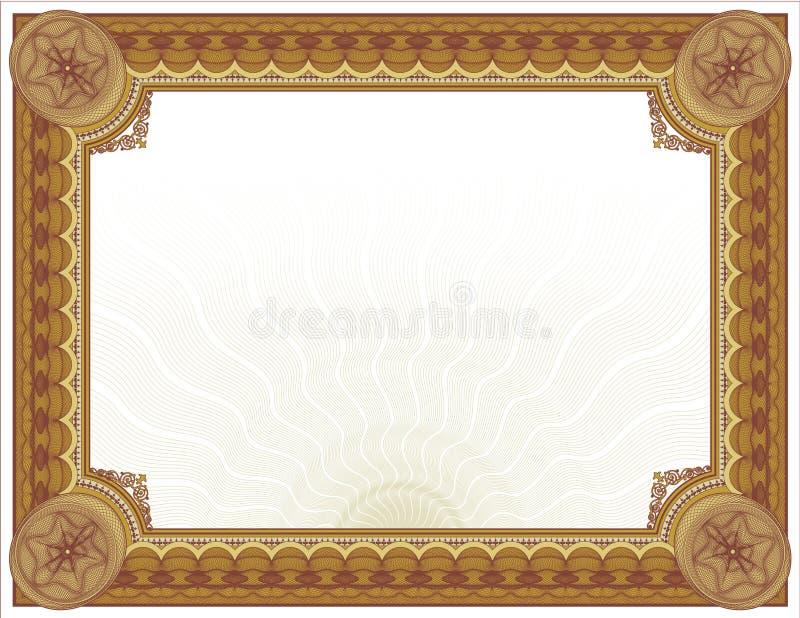 Projeto ornamentado do Certificado-diploma de Guilloché ilustração royalty free