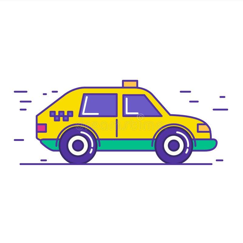 Projeto público amarelo do ícone do carro do táxi na linha na moda estilo dos desenhos animados ilustração royalty free