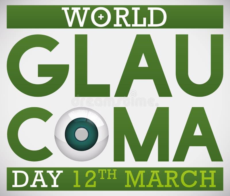 Projeto para o dia da glaucoma do mundo que promove a conscientização com olho doente, ilustração do vetor ilustração stock