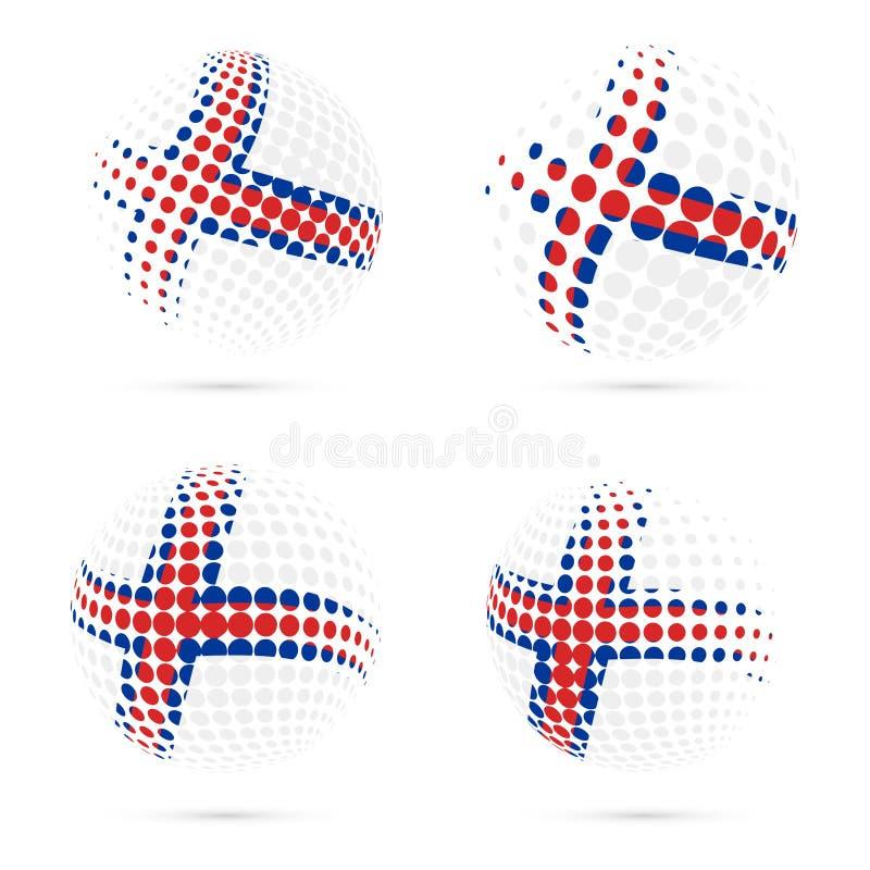 Projeto patriótico ajustado do vetor da bandeira de intervalo mínimo de Faroé ilustração stock