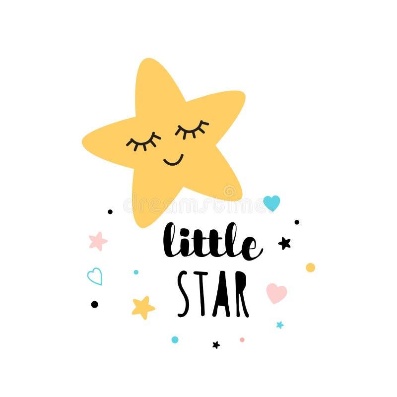 Projeto pequeno da cópia da forma da estrela do texto da estrela isolado no shiower branco do bebê da bandeira do convite do cart ilustração stock