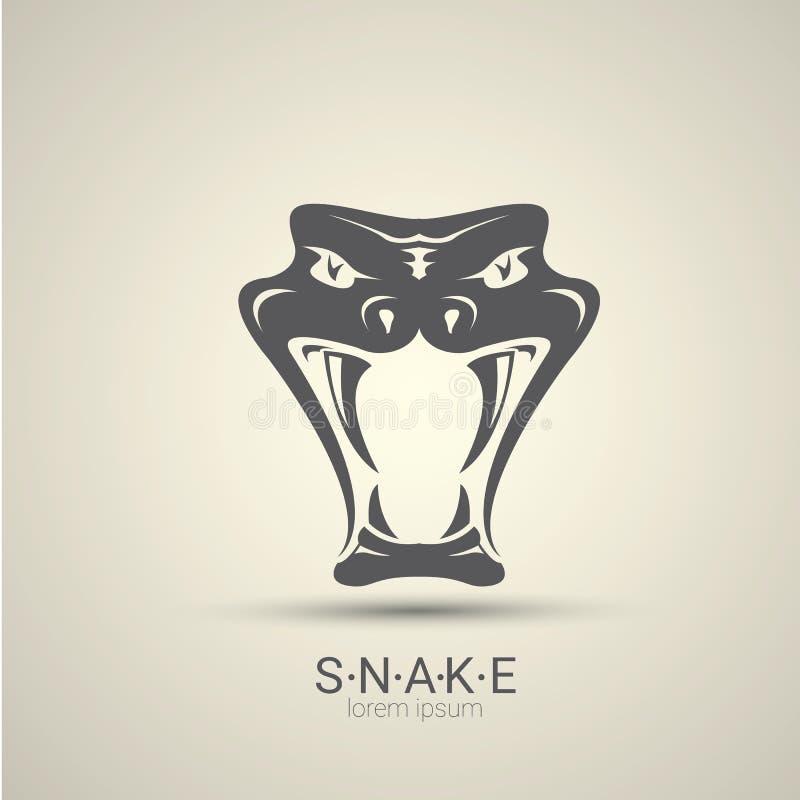 Projeto perigoso irritado do logotipo da serpente do vetor ilustração stock