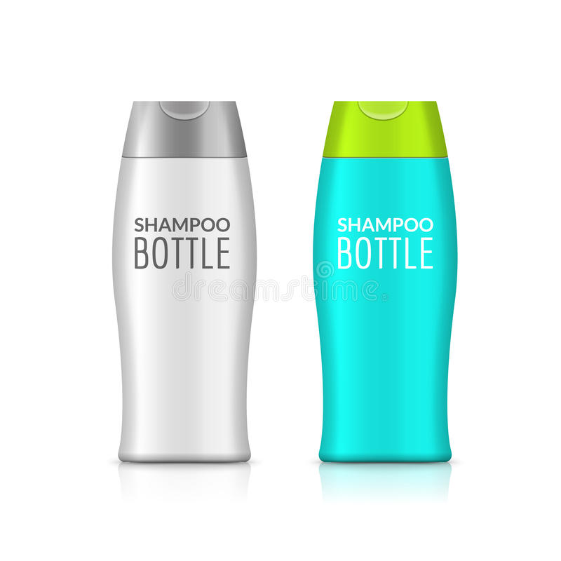Projeto plástico do molde da garrafa da garrafa do champô ou do gel do chuveiro Zombaria da placa do vetor acima Cuidado do banho ilustração stock