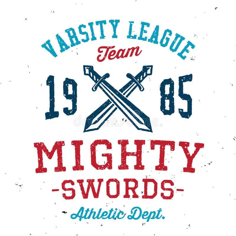 Projeto poderoso do fato do time do colégio das espadas do vintage ilustração do vetor
