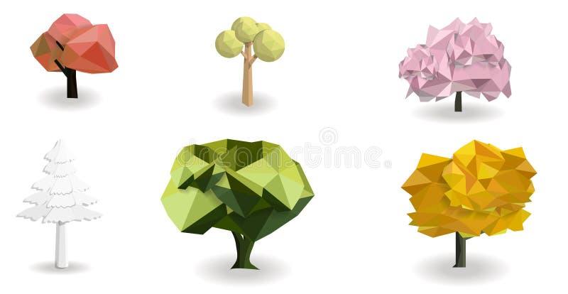 projeto poli do vetor ajustado colorido da árvore baixo ilustração do vetor