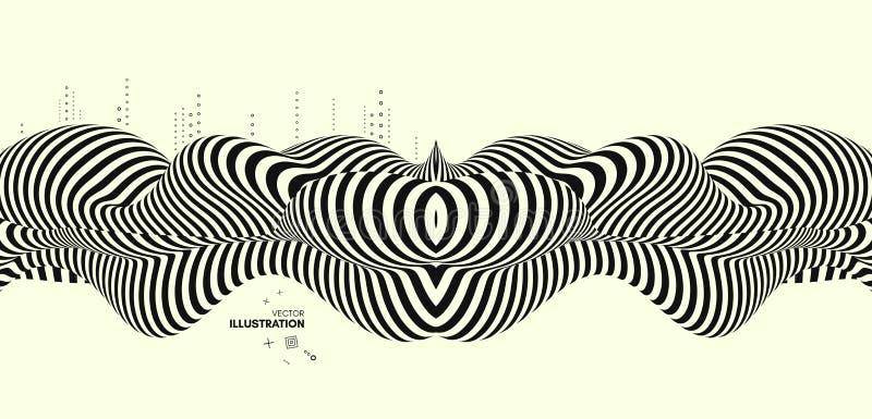 Projeto preto e amarelo Teste padrão com ilusão ótica Fundo 3d geométrico abstrato ilustração royalty free