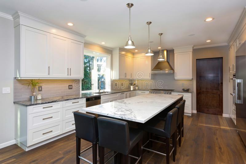 Projeto preto e branco bonito da cozinha fotografia de stock