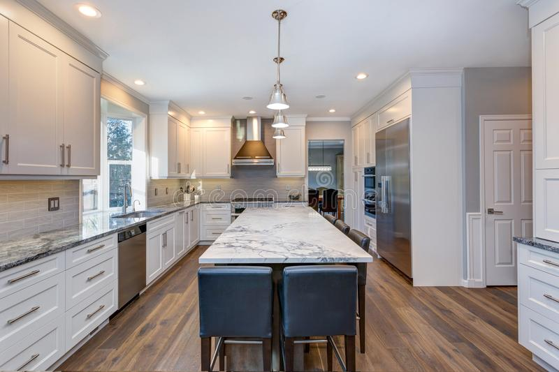 Projeto preto e branco bonito da cozinha foto de stock royalty free