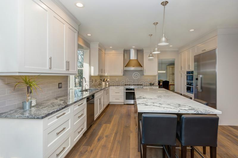 Projeto preto e branco bonito da cozinha foto de stock