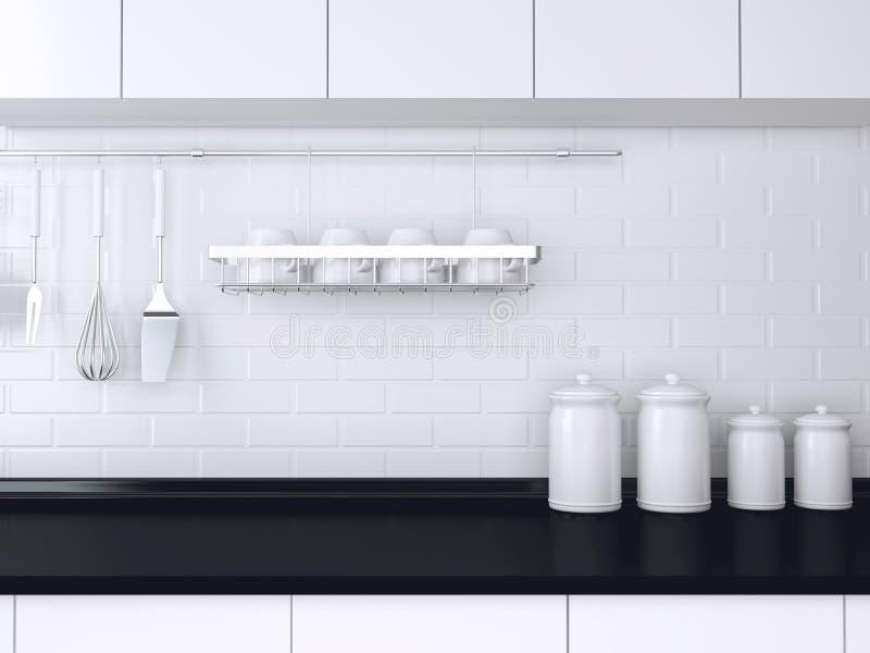 Projeto preto e branco da cozinha ilustração stock