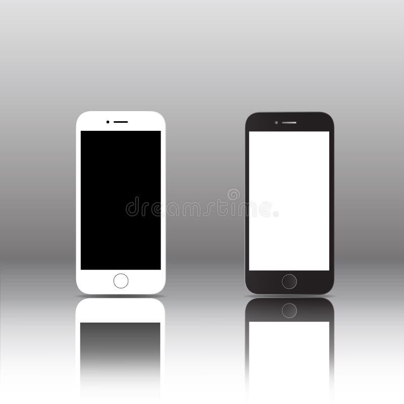 Projeto preto e branco do ícone do telefone esperto móvel do tela táctil ilustração do vetor