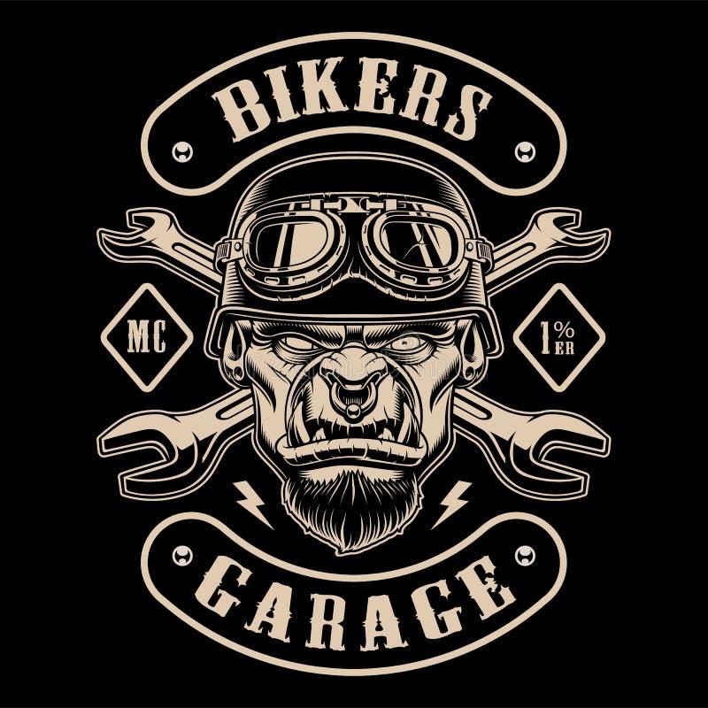 Projeto preto e branco do remendo do motociclista com o caráter ilustração royalty free