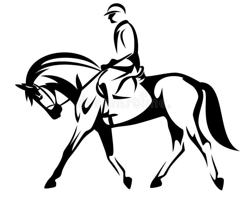 Projeto preto e branco do vetor do cavaleiro do cavalo ilustração royalty free