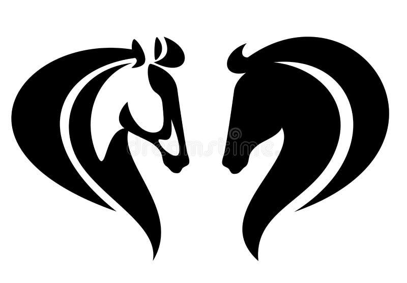 Projeto preto e branco simples do vetor do perfil da cabeça de cavalo ilustração royalty free