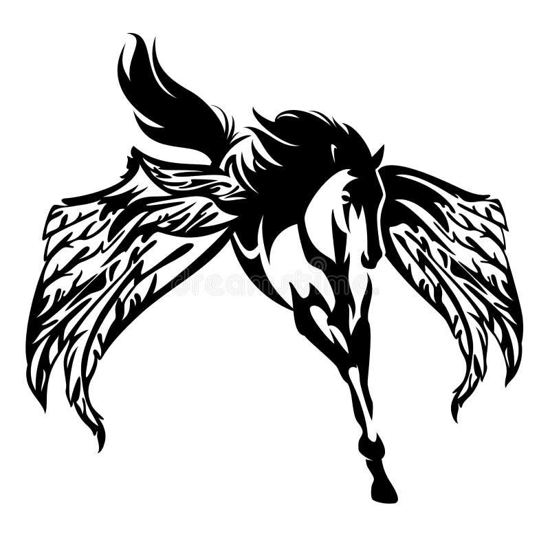 Projeto preto e branco voado do vetor do cavalo de pegasus ilustração royalty free