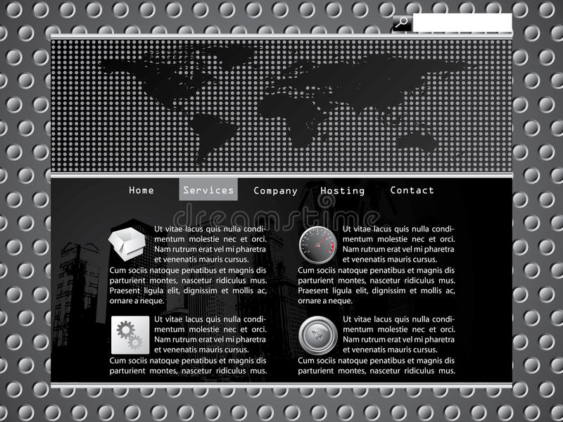 Projeto preto e cinzento do Web site ilustração stock