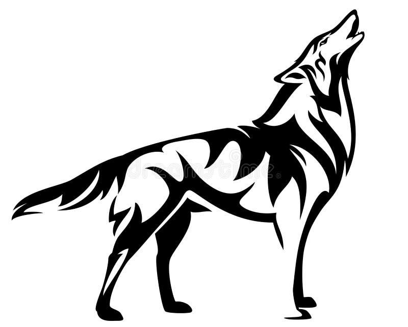 Projeto preto estando do vetor do lobo do urro ilustração stock