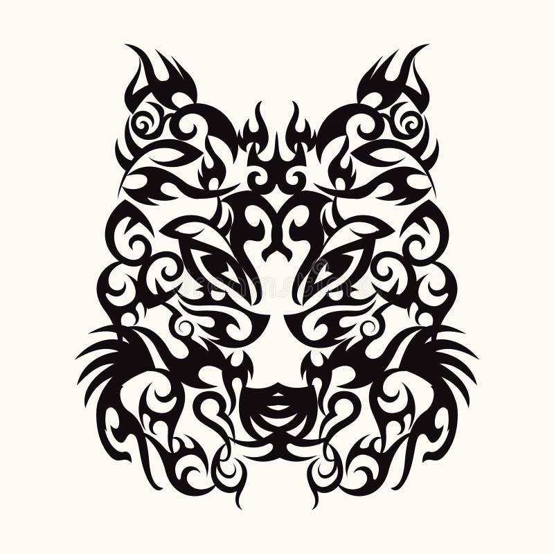 Projeto principal da tatuagem da arte do lobo tribal ilustração royalty free