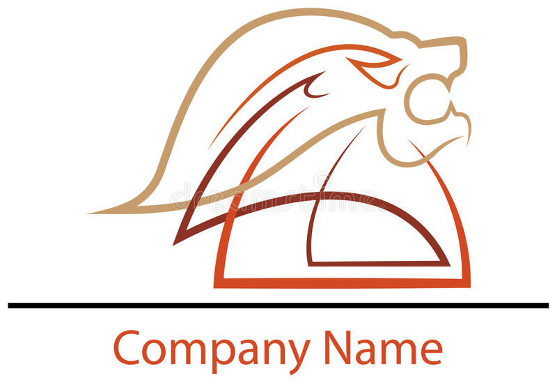 Projeto principal do logotipo do leão ilustração royalty free