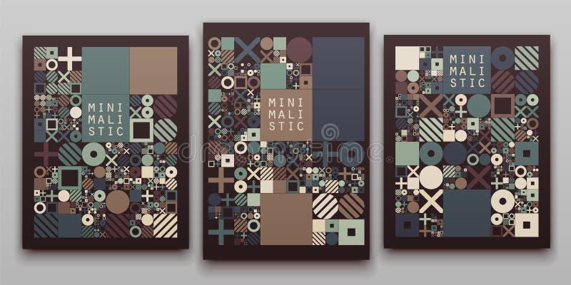 Projeto processual das tampas mínimas do vetor Disposição minimalistic futurista Fundo generative conceptual jornal ilustração do vetor
