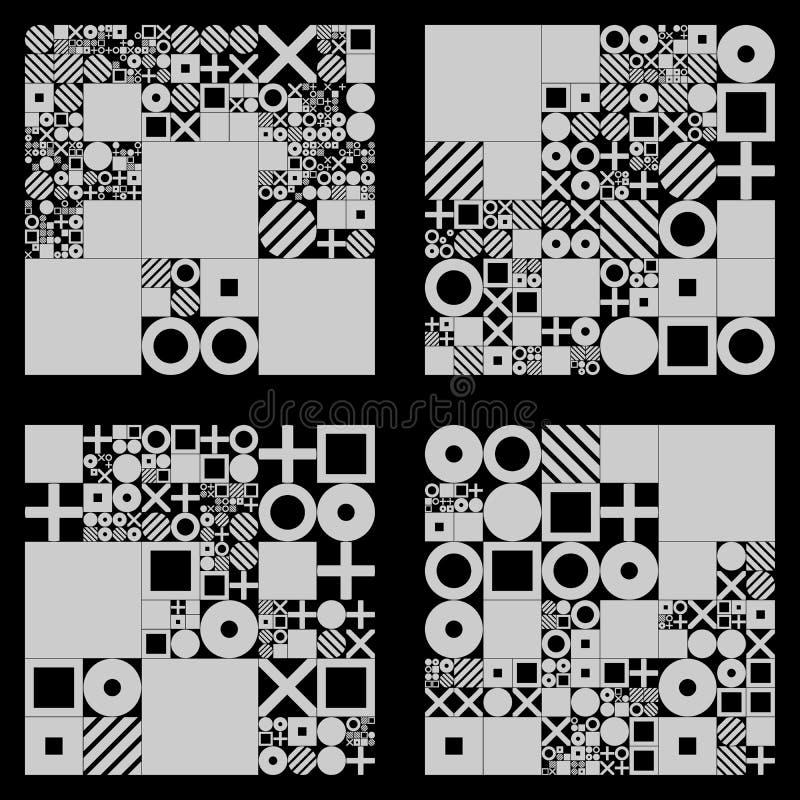 Projeto processual das tampas mínimas do vetor Disposição minimalistic futurista Fundo generative conceptual jornal ilustração royalty free