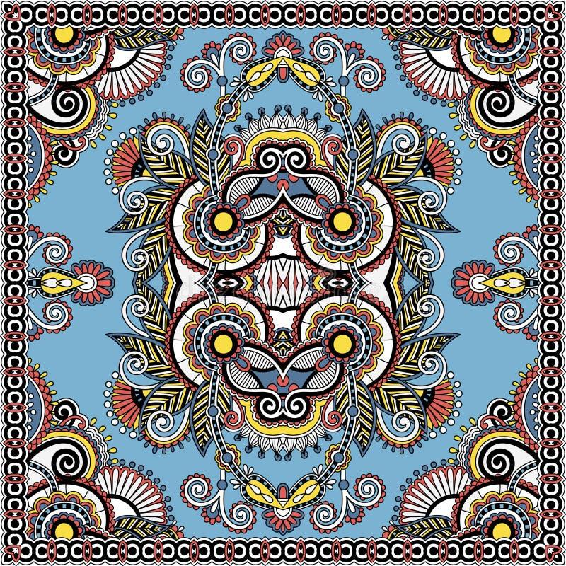Projeto quadrado de seda autêntico do teste padrão do lenço ou do lenço de pescoço em u ilustração royalty free