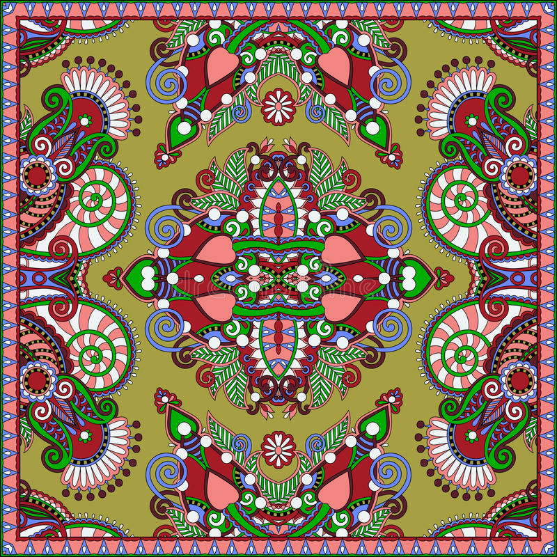 Projeto quadrado de seda do teste padrão do lenço ou do lenço de pescoço ilustração stock