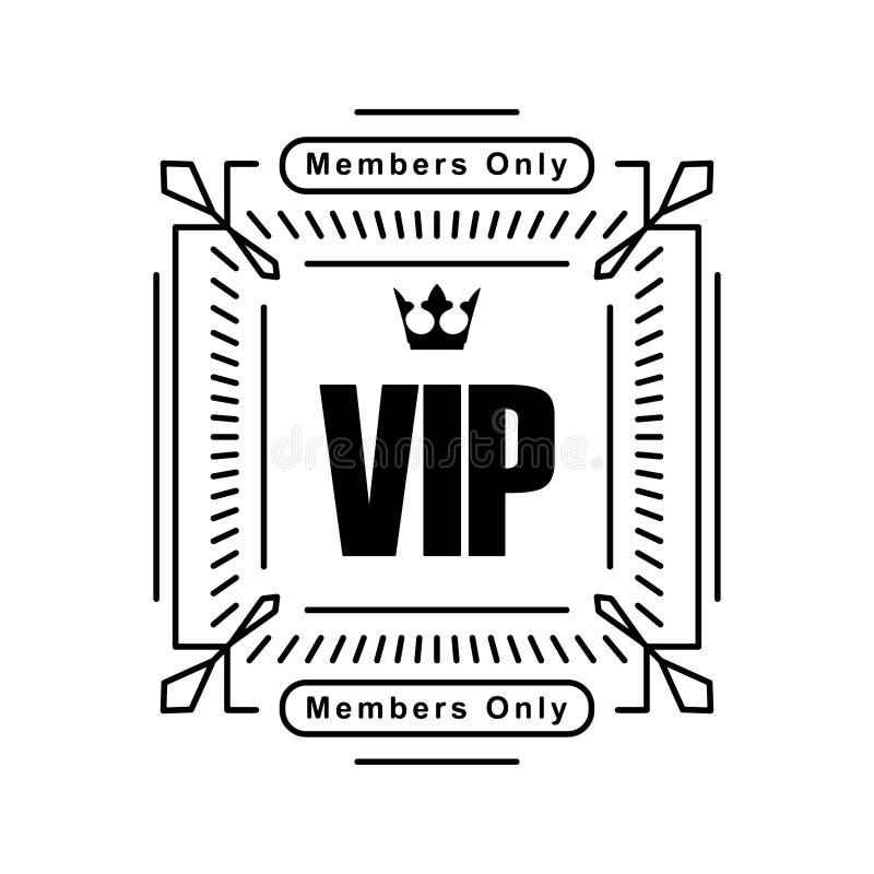 Projeto quadrado decorado rico preto do VIP com coroa em um CCB branco ilustração royalty free