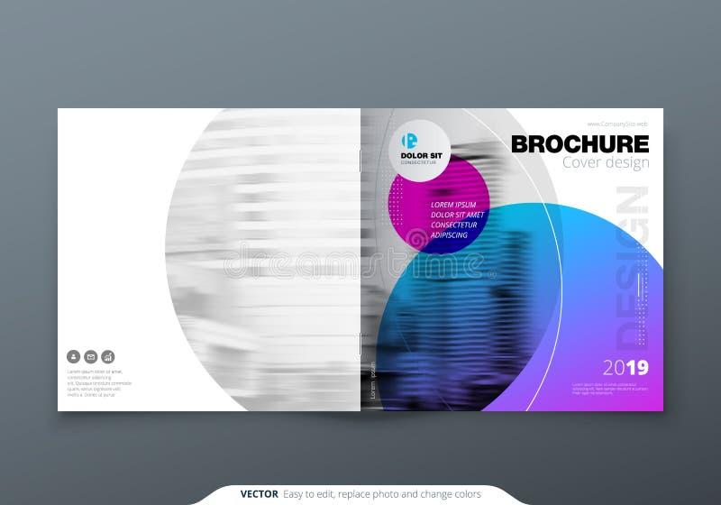 Projeto quadrado do folheto Folheto roxo violeta do molde do retângulo da empresa, relatório, catálogo, compartimento ilustração do vetor