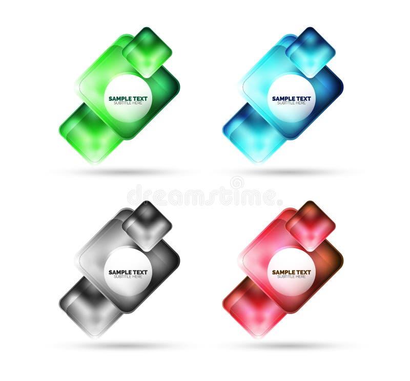 Projeto quadrado matte metálico da bandeira, vidro com a caixa da Web das reflexões ilustração stock