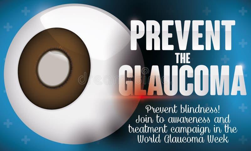 Projeto que promove a prevenção na semana da glaucoma com olho doente, ilustração do vetor ilustração royalty free