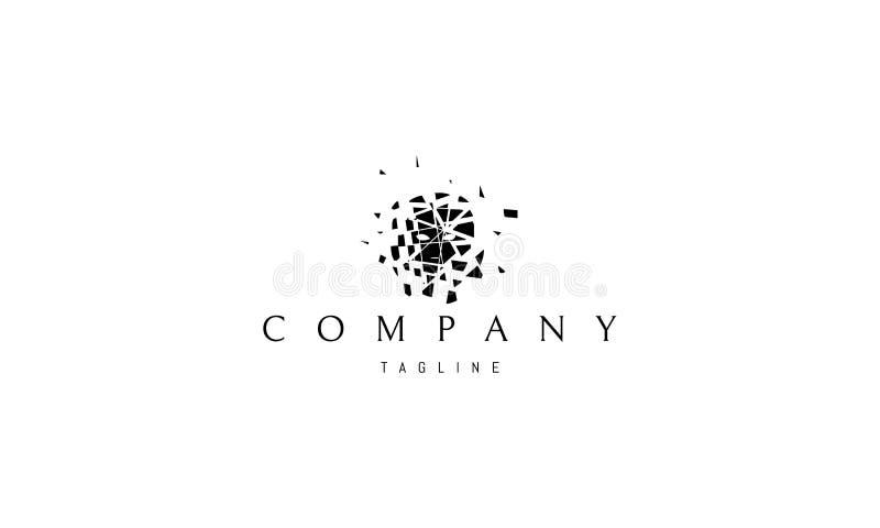 Projeto quebrado do logotipo do vetor do preto do sumário do espelho ilustração do vetor
