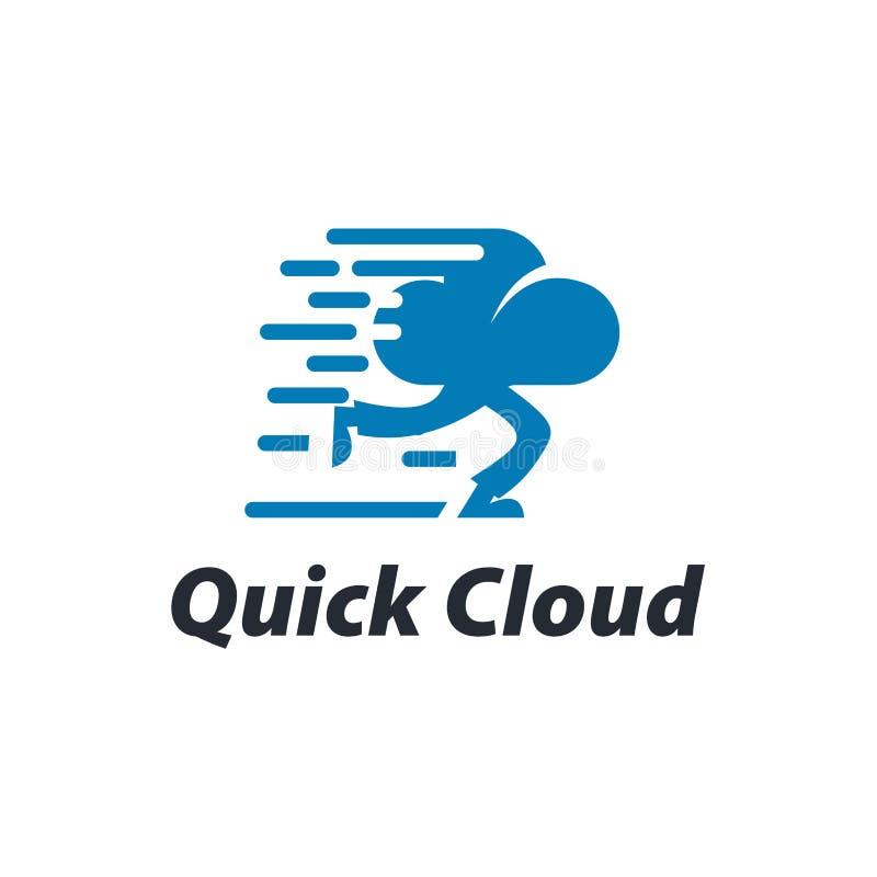 Projeto rápido do molde do logotipo da nuvem com uma nuvem de corrida Ilustração do vetor ilustração do vetor