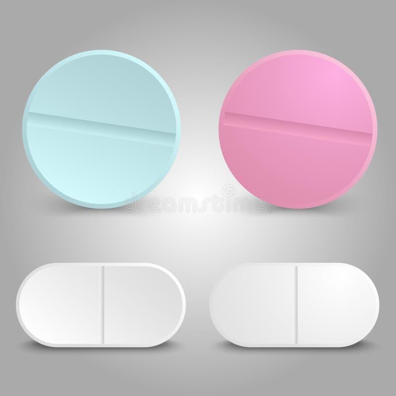 Projeto realístico da droga - comprimidos medicinais ajustados ilustração do vetor