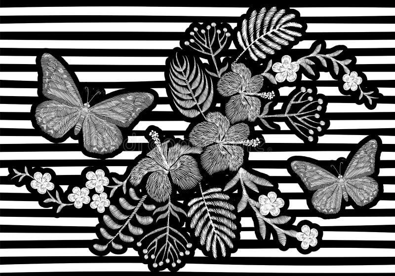 Projeto realístico da textura do bordado da borboleta As flores brancas exóticas formam a decoração em fundo monocromático listra ilustração royalty free