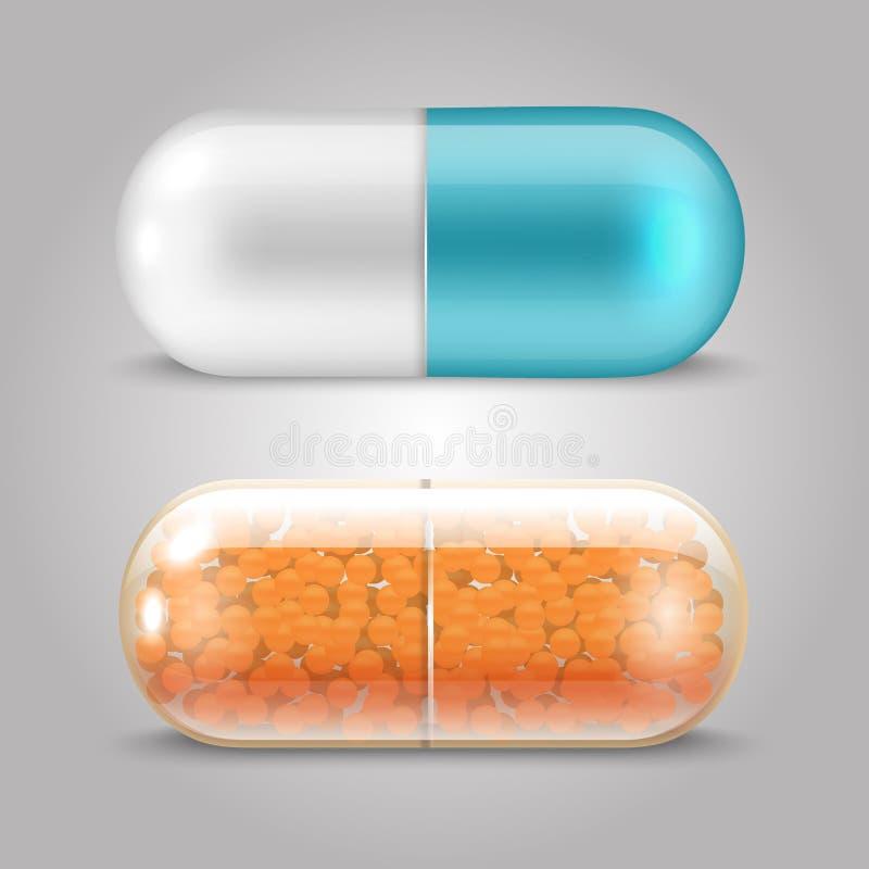 Projeto realístico do vetor dos comprimidos - cápsulas das drogas ilustração stock