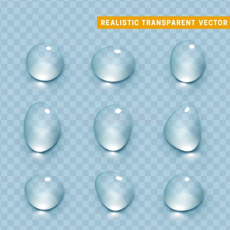 Projeto realístico dos elementos do grupo das gotas da água ilustração do vetor