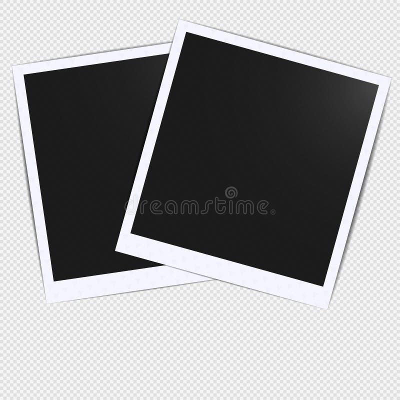 Projeto realístico vazio velho do modelo do quadro de cartão da foto com sombra transparente no fundo branco do preto da manta Fa ilustração stock