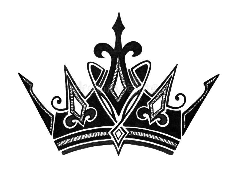 Projeto real da coroa em preto e branco para o rei Queen Prince ou a princesa, ou conceito do sucesso ilustração royalty free