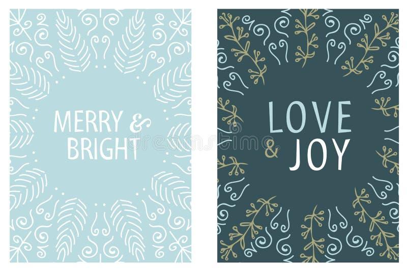Projeto redondo do cartão de Natal Alegre e brilhante Amor e alegria Ilustração desenhada mão do vetor ilustração royalty free