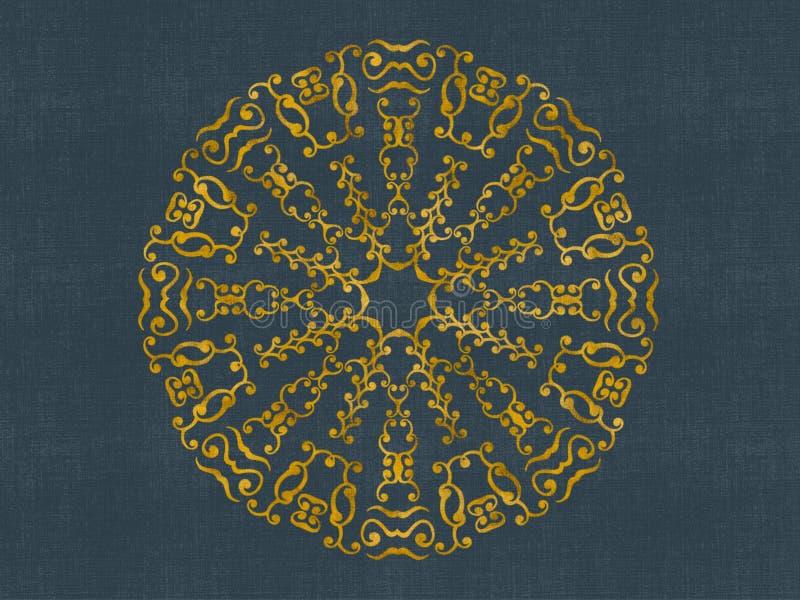Projeto redondo do damasco do ouro foto de stock