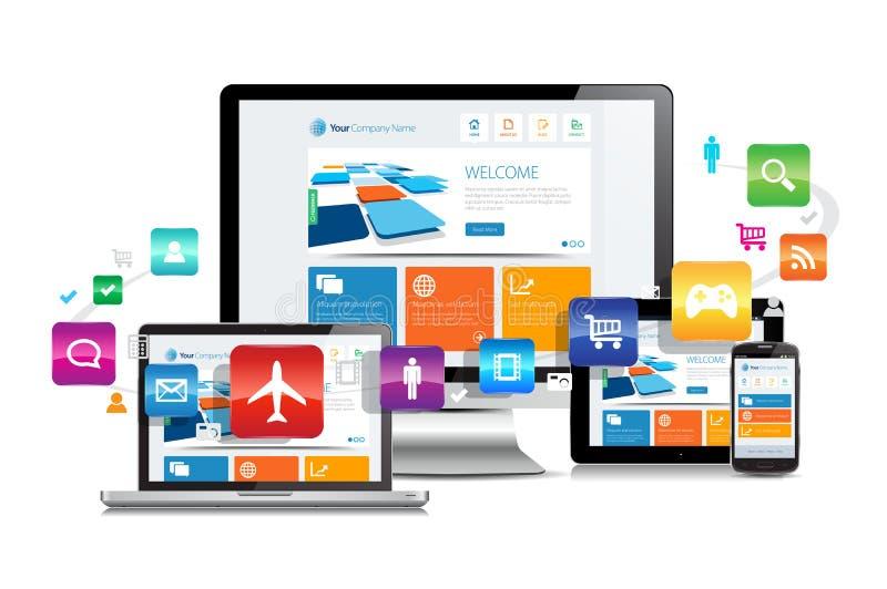 Projeto responsivo Apps ilustração royalty free