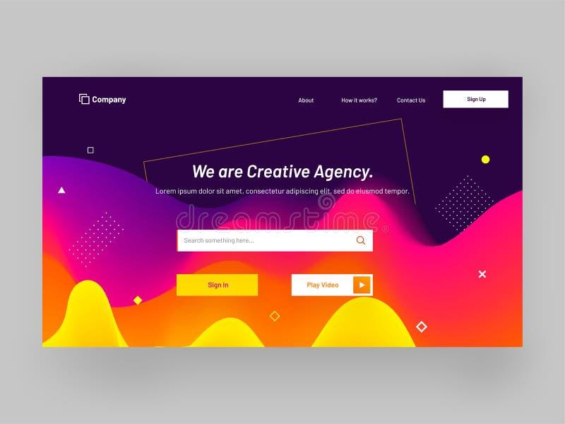 Projeto responsivo da página da aterrissagem da agência criativa com líquido ondulado a ilustração stock