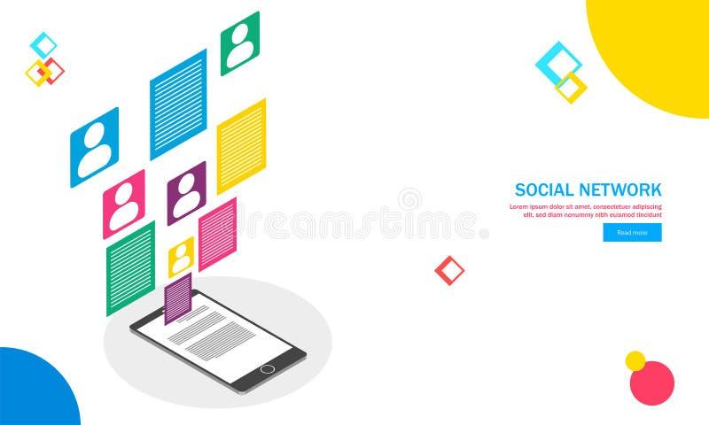 Projeto responsivo do molde da Web com smartphone e mul isométricos ilustração royalty free
