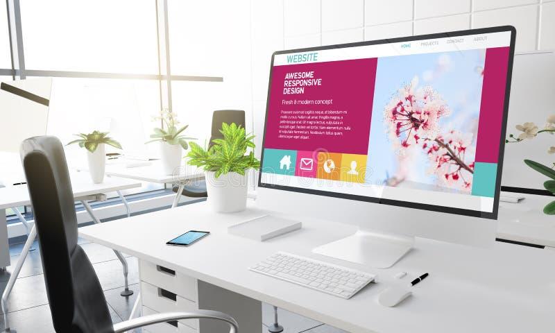 projeto responsivo impressionante do escritório do computador ilustração royalty free