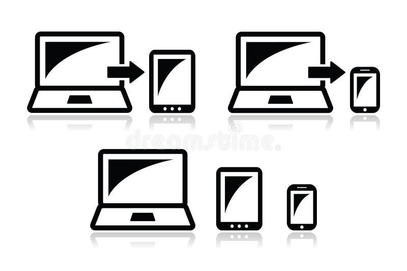 Projeto responsivo - portátil, tabuleta, ícones do smarthone ilustração royalty free