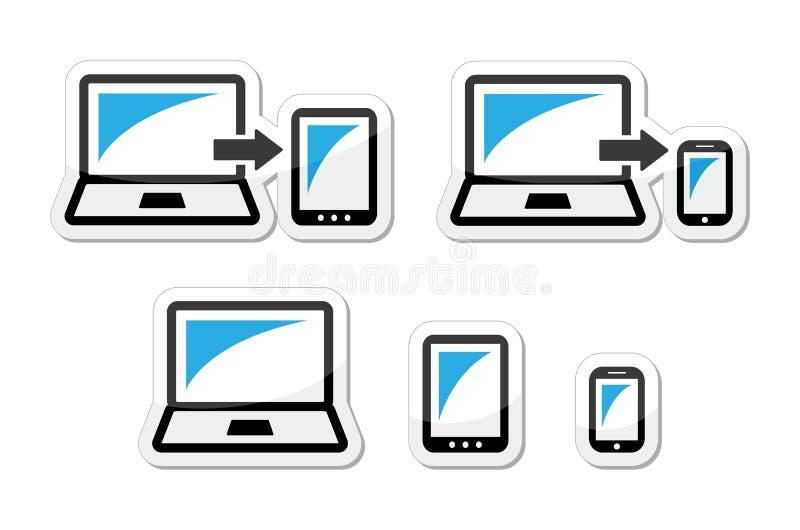 Projeto responsivo - portátil, tabuleta, ícones do smarthone azuis e pretos ilustração do vetor