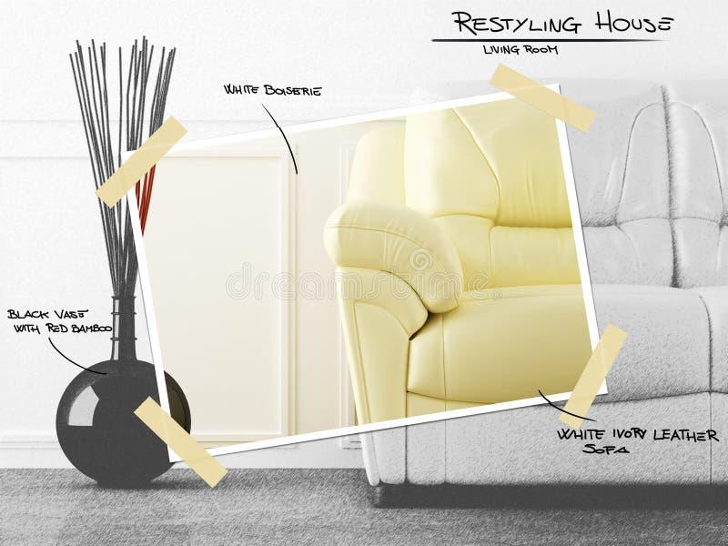 Projeto restyling da sala de visitas ilustração do vetor