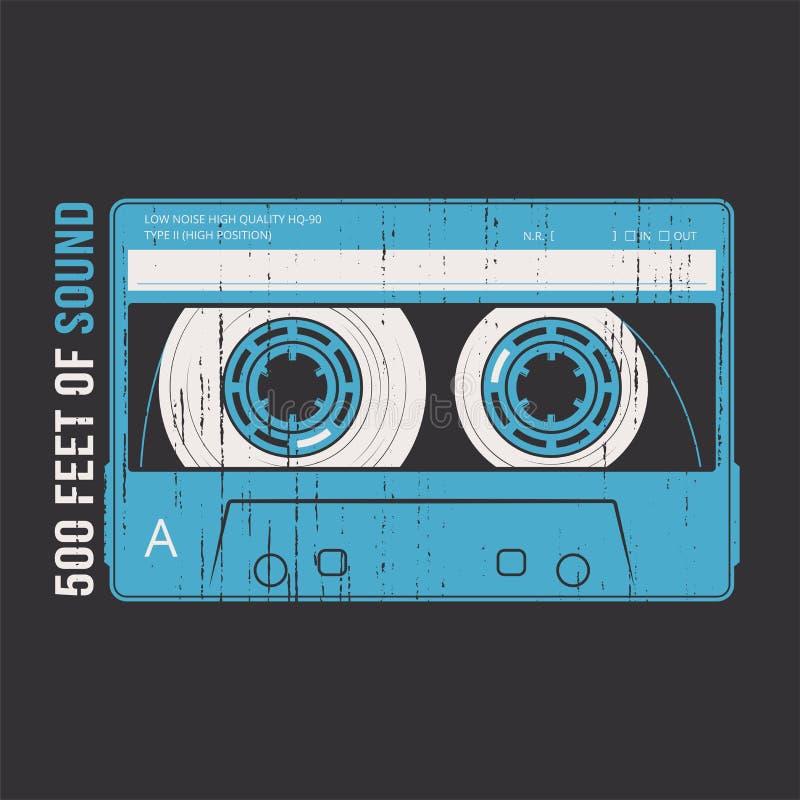 Projeto retro com uma cassete de banda magnética ilustração do vetor