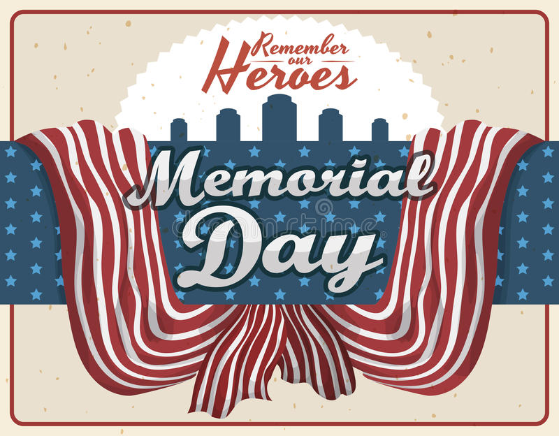 Projeto retro comemorativo para Memorial Day, ilustração do vetor ilustração do vetor